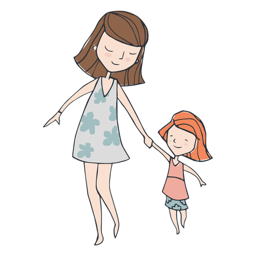 Mom and dauther walking cartoon Transparent PNG