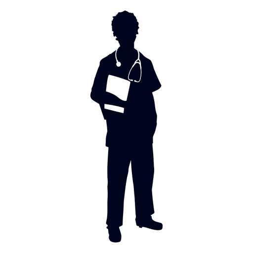 Nurse holding file silhouette Transparent PNG