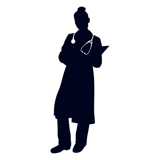 Nurse reading file silhouette - Transparent PNG & SVG vector