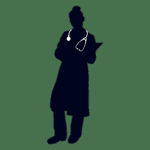 Nurse reading file silhouette