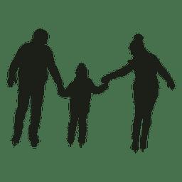 Padres y niño patinando silueta