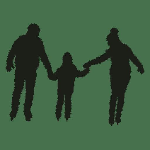 Padres y niño patinando silueta Transparent PNG