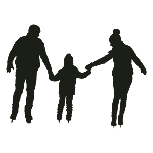 Parents and boy skating silhouette Transparent PNG