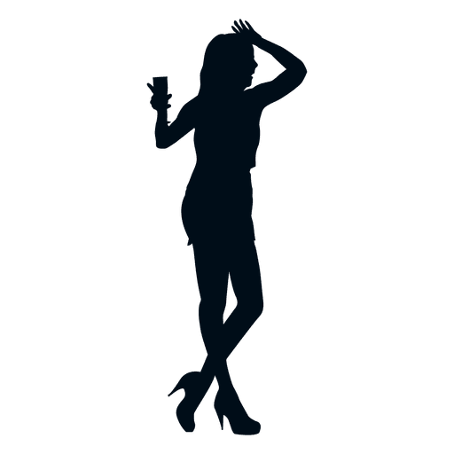 Party woman drinking silhouette Transparent PNG
