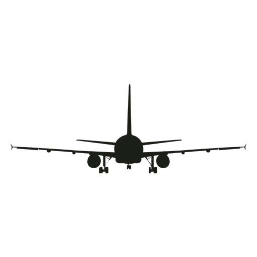 Passenger airplane silhouette front view