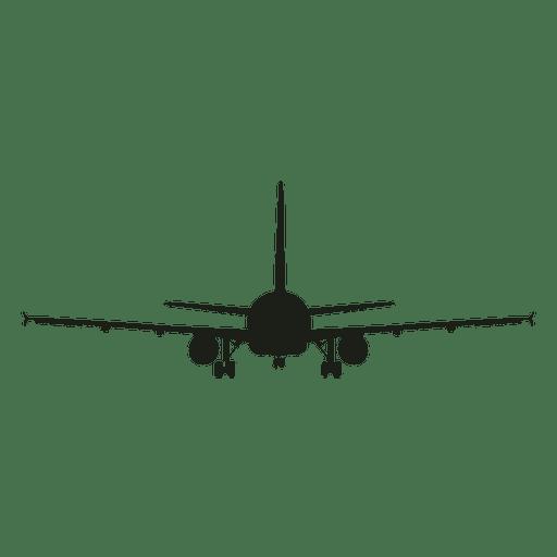 Vista frontal de la silueta del avión de pasajeros
