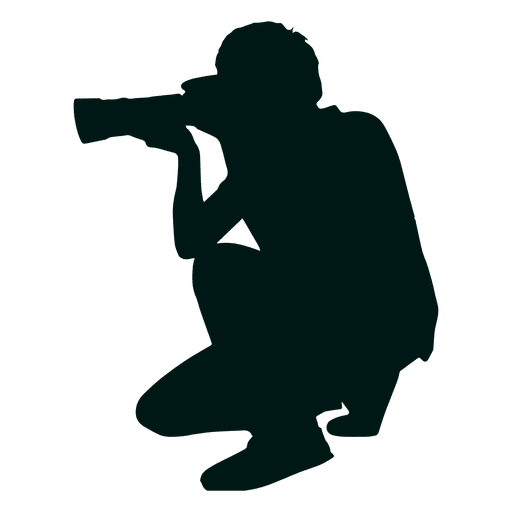 Photographer kneeling silhouette Transparent PNG