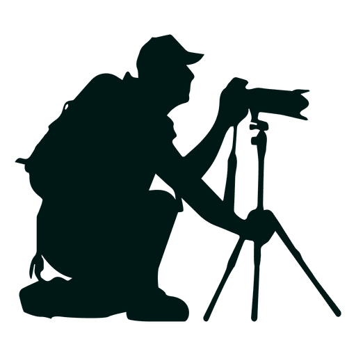 photographer with camera stand silhouette transparent