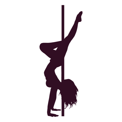 Pole dance handstand silhouette Transparent PNG