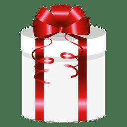 Caixa de presente redonda envoltório vermelho