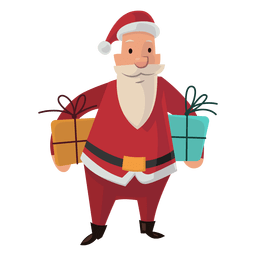 Santa carrying gifts cartoon