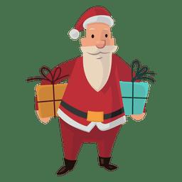 Santa llevando regalos de dibujos animados