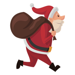 Santa carrying sack cartoon