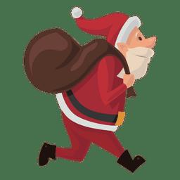 Santa llevando saco de dibujos animados