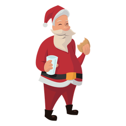 Santa eating cookie cartoon