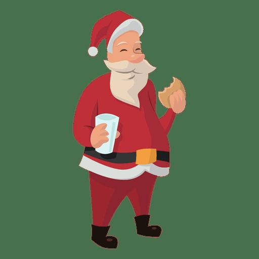Papai Noel comendo bolinho dos desenhos animados Transparent PNG