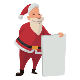 Santa holding white board cartoon