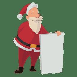 Santa segurando o desenho animado de placa branca