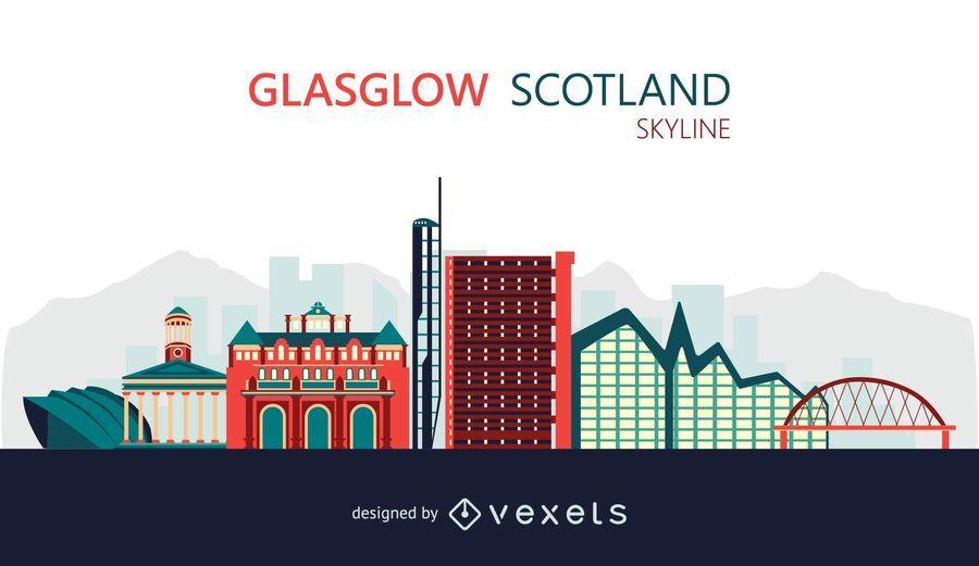 Ilustración de horizonte de Glasgow plana