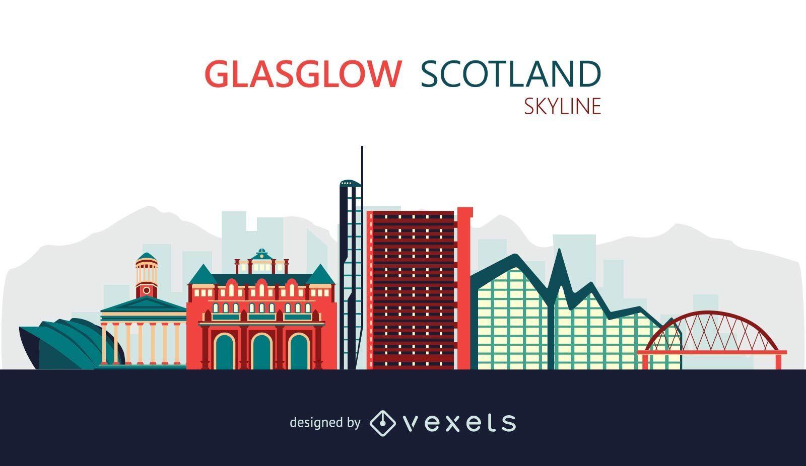 Flat Glasgow skyline illustration