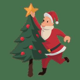 Papai Noel colocando desenhos animados de estrela de Natal