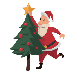 Santa putting christmas star cartoon
