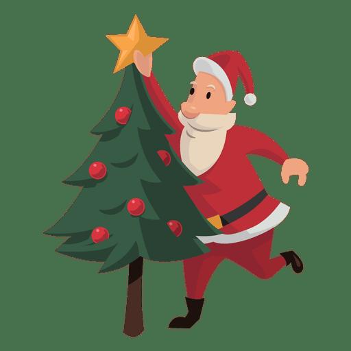 santa putting christmas star cartoon transparent png - Christmas Transparent