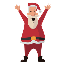 Santa raising arms cartoon