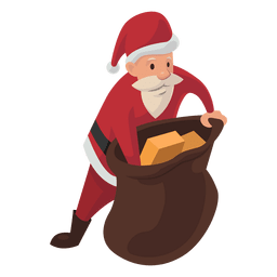 Santa reaching in sack cartoon