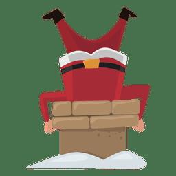 Papai Noel preso no desenho de chaminé