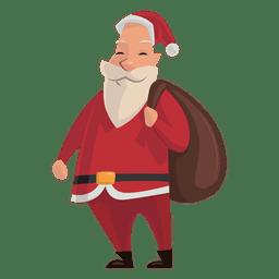 Papai Noel com o saco no ombro dos desenhos animados