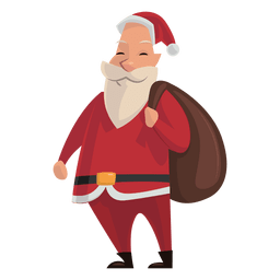 Santa with sack on shoulder cartoon