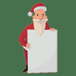 Santa con dibujos animados de tablero blanco