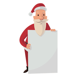 Santa with white board cartoon