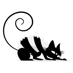 Dibujos animados gato negro asustado