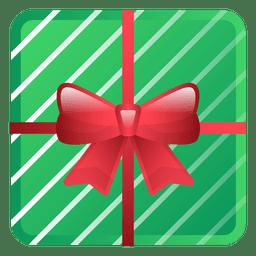 Icono de regalo de Navidad verde brillante