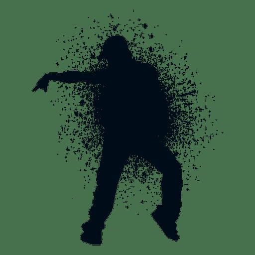 Street dance move splash paint silhouette Transparent PNG