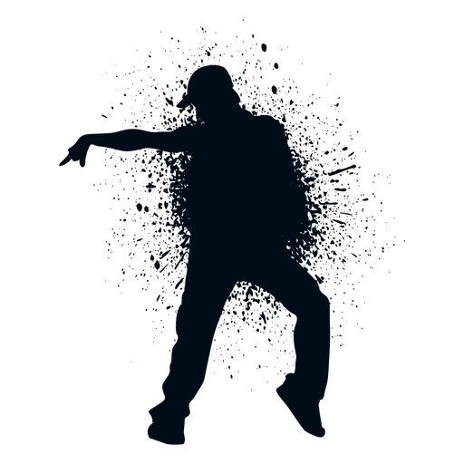 Street dance move splash paint silhouette