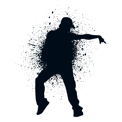 Street dance pose splash paint silhouette Transparent PNG