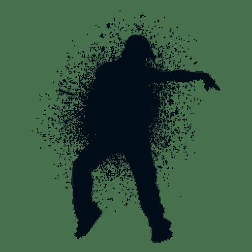 Street dance pose splash paint silhouette