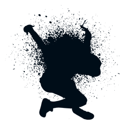 Street dancer splash paint silhouette