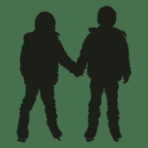 Dos niños patinaje sobre hielo silueta Transparent PNG