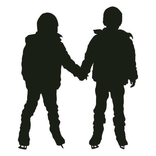Two kids ice skating silhouette Transparent PNG