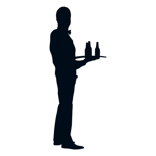 Waiter with bottles silhouette Transparent PNG