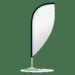 Bandera blanca convexa de plumas