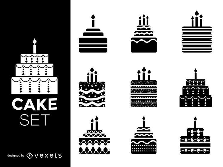 Conjunto de silhuetas de bolo
