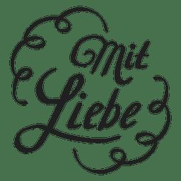 Com letras de amor em alemão