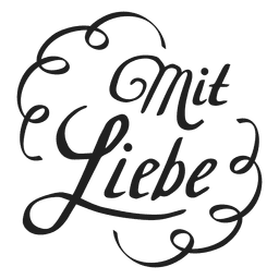 With love lettering in german