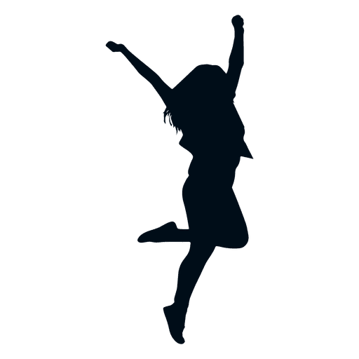 Woman happy jumping silhouette - Transparent PNG & SVG vector