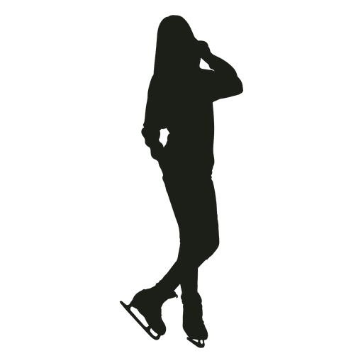 Woman ice skating casual silhouette Transparent PNG